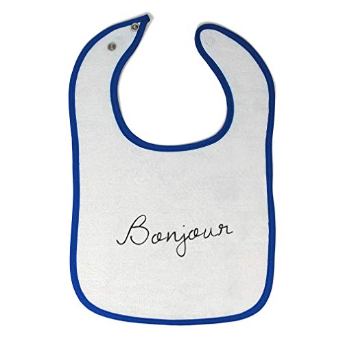 Toddler & Baby Bibs Burp Cloths Bonjour Valentines Love Clipart Cute Font Cotton Items for Girl Boy Gifts Ah White Royal Blue Design Only