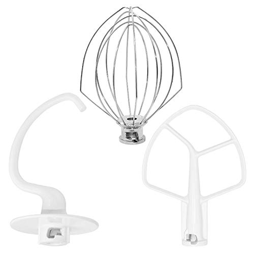 K45DH&K45WW&K45B Stand Mixers Repair Set Include K45DH Coated Anti-stick Dough Hook With K45B Coated Anti-stick Flat Beater And K45WW Wire Whip Compatible With Kitchen Mixer Aid KSM150