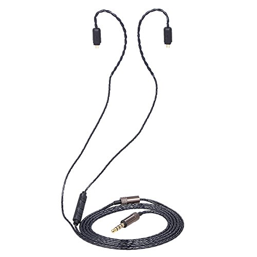 Docooler koptelefoon vervanging oortelefoon Exchange kabel 2 pin 0,75 mm tot 3,5 mm met 3 afstandsbedieningen vergulde rechte stekker voor KZ-ZS3 ZS4 ZS5 ZS6 ZST ED12 ES3 ESR TF10 zwart