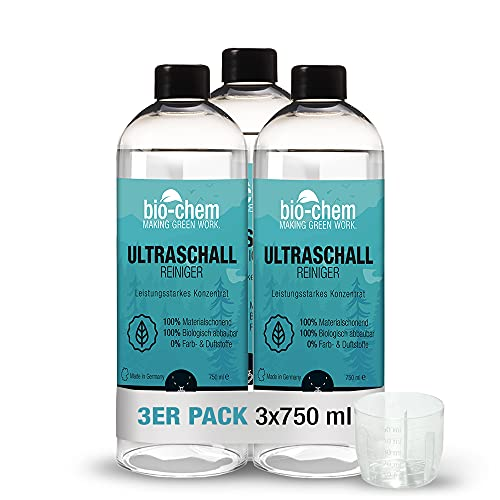 bio-chem Bio Ultraschallreiniger Konzentrat 3x 750 ml inkl. Dosierbecher, geruchsfrei, alkoholfrei, Reinigungszusatz für Ultraschallgeräte/Ultrasonic-Cleaner für Brillen, Schmuck u.v.m.