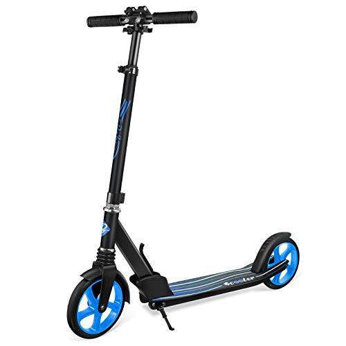 BELEEV Roller Erwachsene, Tretroller Kick Scooter mit 2 Rädern, Cityroller mit Federung, Schnellverschluss Klappbar System, 4 Höhenverstellbare, 200mm Große Räder Roller für Kinder Jugendliche (Blau)