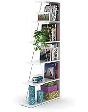 HomCanvas RF160406 أرفف كتب حديثة من القماش لغرفة المعيشة أو غرفة الدراسة، رف سهل التجميع للكتب - أبيض وكروم