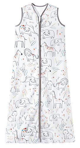 Chilsuessy, sacco a pelo estivo per bambini, senza maniche, per estate e primavera, 100% cotone, con zoo, altezza 110-125 cm