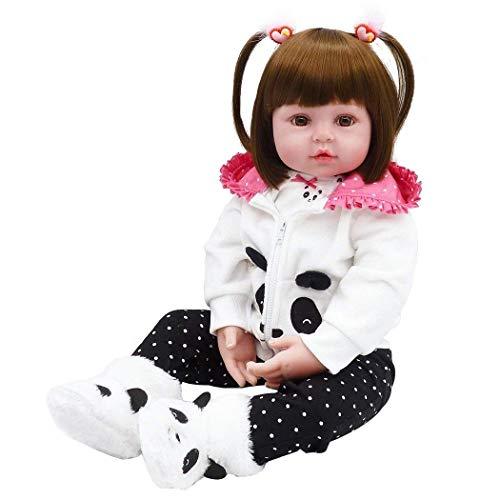 iCradle Reborn Dolls 18 Zoll/ 45cm Realistische Reborn Panda Babypuppen Mädchen Weiche Silikon Vinyl Kleinkind Reborn Baby Doll Magnetisch Mund (18)