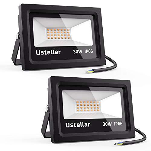 Ustellar 2er 30W LED Strahler, IP66 Wasserdicht Außenstrahler Außenleuchte, 2100lm warmweiß LED Fluter Flutlicht LED Scheinwerfer Objektbeleuchtung Wandstrahler