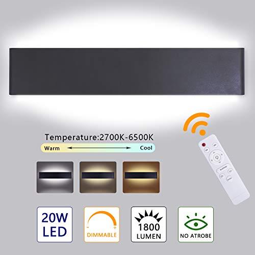 Lureshine Led Wandleuchte Innen mit Fernbedienung 20W 2700K-6500K Dimmbar Wandlampe mit 2W Nachtlicht Modus 220V 1800LM 40CM für Schlafzimmer Wohnzimmer Flur Treppen