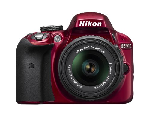 Nikon D3300 24.2 MP CMOS Digital SLR with Auto Focus-S DX NIKKOR 18-55mm f/3.5-5.6G VR II Zoom Lens (Red)