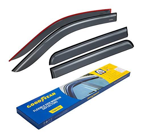Goodyear Shatterproof Window Deflectors for Trucks Ford F150 2009 2010 2011 2012 2013 2014 SuperCrew, Tape-on Rain Guards, Window Visors, Vent Deflector, Vent Visor, Truck Accessories, 4 pcs- GY003110