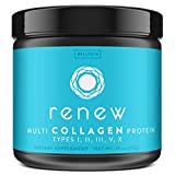 Renew Multi Collagen Protein Powder - 5 Types of Collagen - Hydrolyzed Grass-Fed Bovine, Marine, Chicken and Egg Collagen Peptides - Type I, II, III, V, and X - Keto Friendly Supplement