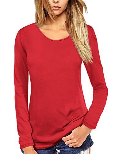 Florboom Basic Tshirt Damen Langarmshirt Baumwolle Rundhals Lässig Shirt Bluse Longsleeve T-Shirt Einfarbig Rot XXL