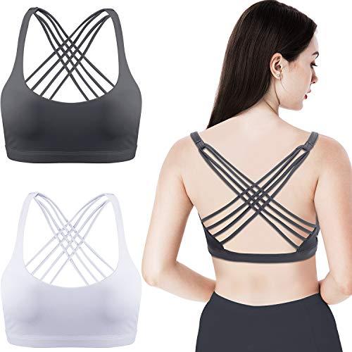 Patelai 2 Packungen Damen Gepolstert Sport BH Kreuz Rücken BH Trainieren Riemchen BH Nahtloser, Komfortabler Yoga BH (Weiß und Grau, L)