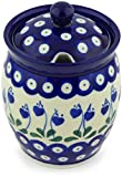 Polish Pottery 5-inch Jar with Lid with Opening made by Ceramika Artystyczna (Bleeding Heart Peacock Theme) + Certificate of Authenticity
