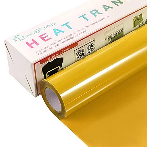 NANAPLUMS Lámina para plóter textil, 30,5 cm × 4 m, lámina de transferencia flexible y Silhouette Cameo, se utiliza en textiles planchar camisetas, tejidos (amarillo)