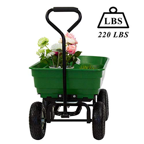 Kinsuite Garden Dump Cart Wagon Carrier Wheelbarrow Yard Tools Dumper Rugged Wide-Track Tires Utility Lawn Wagon