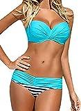 Aleumdr Damen Bikini Set Push up Badeanzug Zweiteilige Bandeau Bademode mit verstellbaren Träger, Blau, Large(EU42-44)