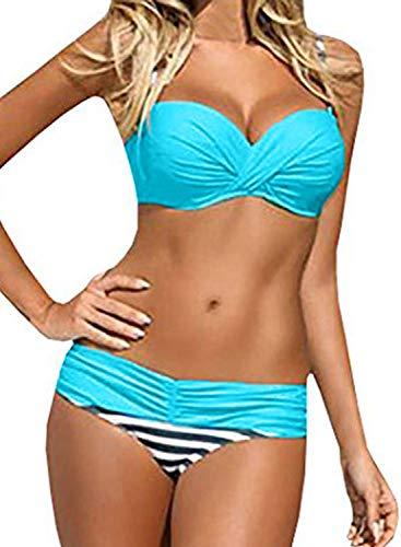 GOSOPIN Damen Bikini Zweiteilige Badeanzug Bademode Push Up Strandkleidung Bikinioberteil Bikini Set,Blau,XL