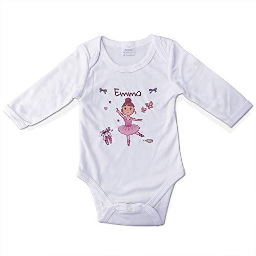 Body Bebé Divertido Personalizado con Nombre. Regalos Personalizados para Bebés. Bodies Personalizados Manga Larga. Varias Tallas. Bailarina Rosa