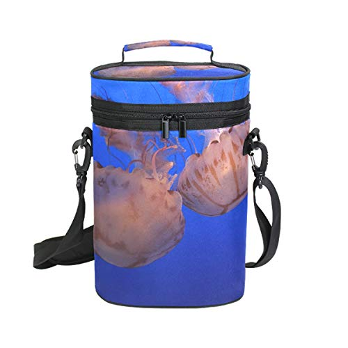 DEZIRO - Borsa termica da picnic per vino, con meduse galleggianti, 2 pezzi, borsa da viaggio