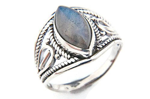 Ring Silber 925 Sterlingsilber Labradorit Stein (Nr: MRI 70), Ringgröße:60 mm/Ø 19.1 mm