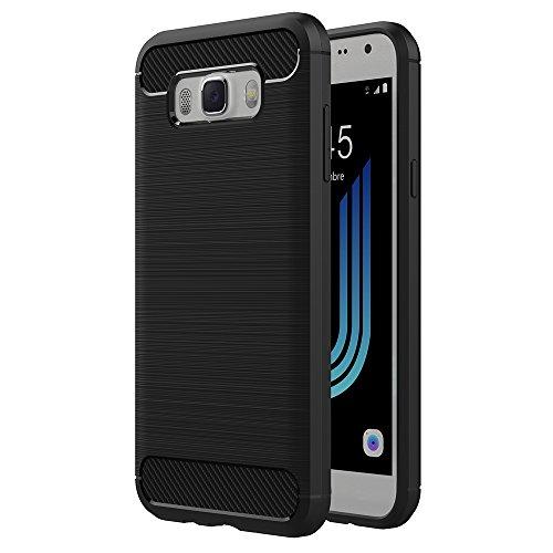 AICEK Cover Samsung Galaxy J5 2016, Nero Custodia Galaxy J5 2016 Silicone Molle Black Cover per Samsung Galaxy J5 2016 J510 5.2 Pollici Soft TPU Case