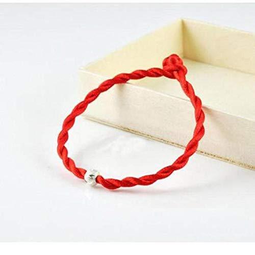 N / E Chino Feng Shui Suerte Rojo Cuerda Cuerda Tejida a Mano Piezas Con Cuentas de Plata Cuerda Roja Tejer Pulseras Simple Moda Pulsera