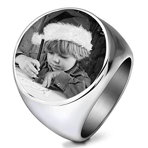 bishixiangenbaihuo Personalized Photo Ring Customized Ring Silver Ring Couple Ring Christmas Birthday Anniversary Personalized Gift for Girlfriend Boyfriend(Silver 10.5)