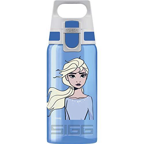 SIGG VIVA ONE Elsa II Cantimplora infantil (0.5 L), botella transparente sin sustancias nocivas y con tapa hermética, cantimplora para niños para usar con una mano