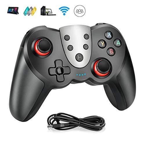 Powcan Controlador Mandos Inalámbrico para Nintendo Switch,  Switch Console Bluetooth Joypad,  Vibración Doble/Turbo/NFC/Gyro Axis Función Gamepad