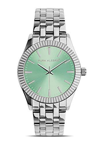 Reloj Pura Alegría - Tropical - Analógico Mujer Cromado con Esfera Verde y Cadena de Acero