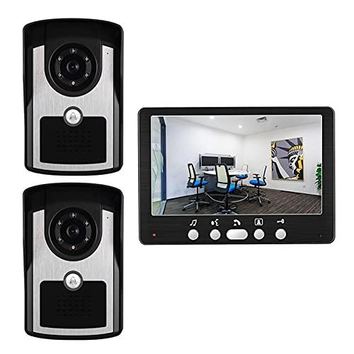 Timbre de Video, intercomunicador, sistema de entrada de puerta con cable Kit de seguridad para el hogar con videoportero de 7 pulgadas, visor de puerta, monitor + 2 cámaras