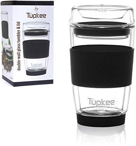 Tupkee Double Wall Glass Tumbler - 8-Ounce, All Glass Reusable Insulated Tea/Coffee Mug & Lid, Hand Blown Glass Travel Mug - Black