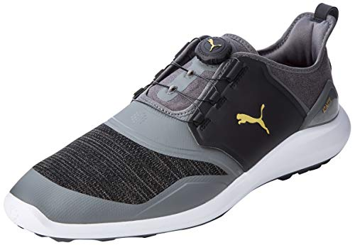 PUMA Herren Ignite NXT DISC Golfschuhe, Schwarz (Quiet Shade-Team Gold-Black), 39 EU