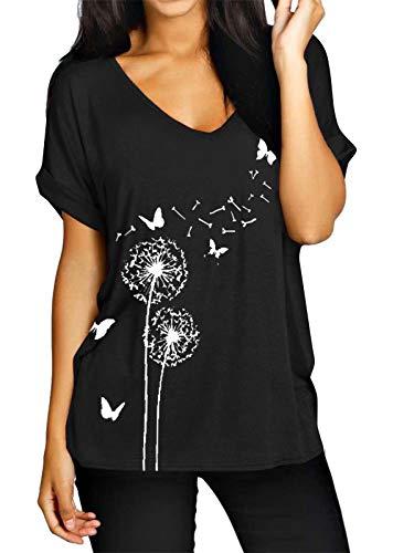 ZANZEA Maglietta Donna Taglie Forti Scollo V Manica Corta Estivo T-Shirt Basic Top Stampa Floreale Nero 3XL
