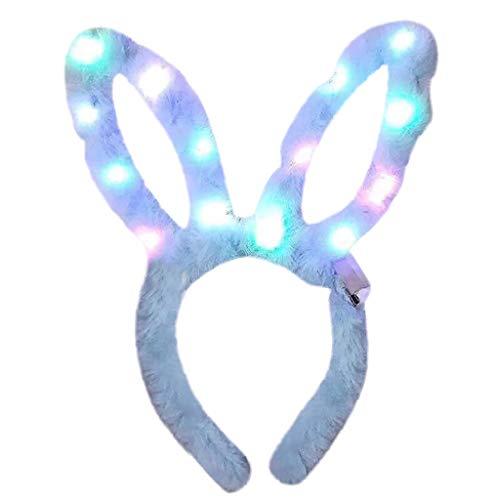 YWLINK PlüSch Hasenohren LED Party Haarband Cosplay Stirnband Kopfbedeckung(Blau,)