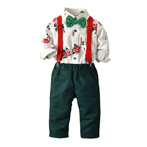 Julhold Kleinkind Baby Jungen Einfacher Herr Fliege Solide Baumwolle Slim T-Shirt Tops + Hosenträger Hosen Outfits 0-5 Jahre