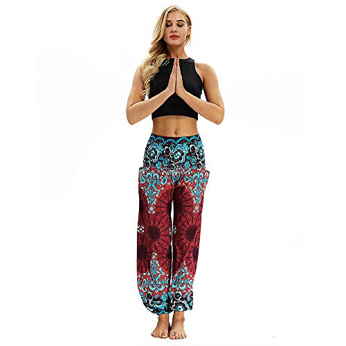 Lazzboy Harem Pants Boho Beiläufige lose Hippie-Yoga-Hosen Baggy Aladdin (Rot)