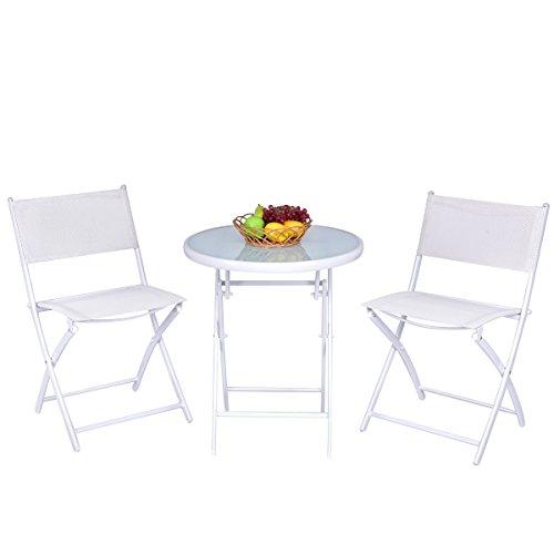 Giantex 3 PCS Folding Bistro Table Chairs Set Garden Backyard Patio Outdoor Furniture (White)