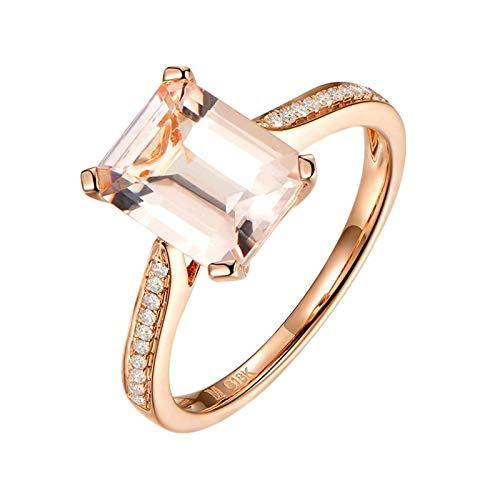 Beydodo Ring für Damen Rotgold 18 Karat Diamant Solitärring mit Rechteck Morganit 2.1ct Verlobungsring Rosegold Trauringe Große 47 (15.0)