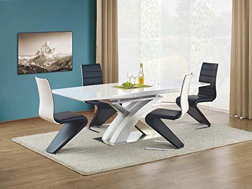 Sandor 160-220 cm White High Gloss Modern Extendable Dining Table