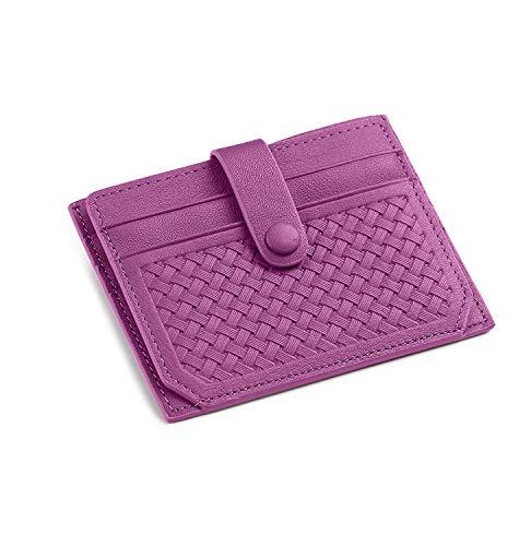 flintronic Cartera Tarjeta de Crédito, Slim RFID Bloqueo Monedero de Cuero, Mini Billetera para Tarjetas de Crédito, el Estilo Tejida (Púrpura)