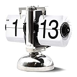 Betus Flip Desk Clock - Mechanical Retro Style -Digital Display Battery Powered - Home & Office Décor 8 x 6.5 x 3 Inches (White)