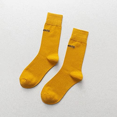 IAMZHL 3 pares de calcetines de colores aleatorios mujeres algodón color fluorescente deportes y ocio estudiantes calcetines hasta la rodilla calcetines de moda de color sólido para mujeres - 2,36-44