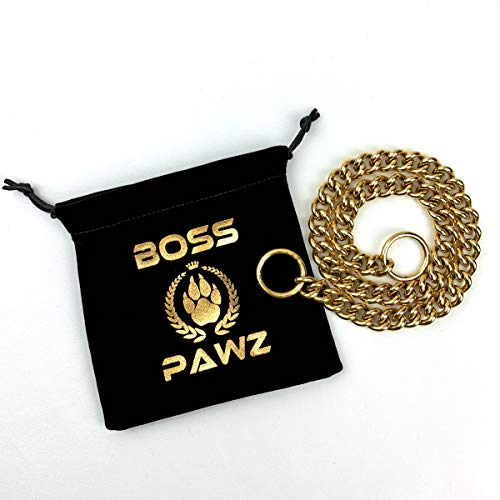 BOSS PAWZ Alpha 14 Inch Gold Choke Chain Dog Collar Welded Stainless Steel Cuban Choker Chain for Large Dogs 0.5 Inch Wide