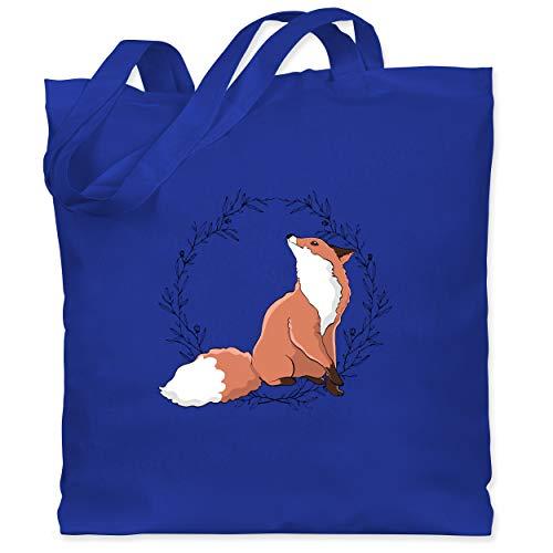 Shirtracer Sonstige Tiere - Fuchs mit Blumenkranz - Unisize - Royalblau - Statement - WM101 - Stoffbeutel aus Baumwolle Jutebeutel lange Henkel