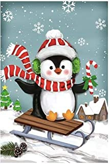 "GiftWrap Etc. Sledding Penguin Christmas Garden Flag 12"" x 18"", Cute Winter Garden Accessories, Holiday Decor, Christmas Decoration, Boxing Day, Classroom, Daycare, Christmas Tree Lot, Fundraiser"