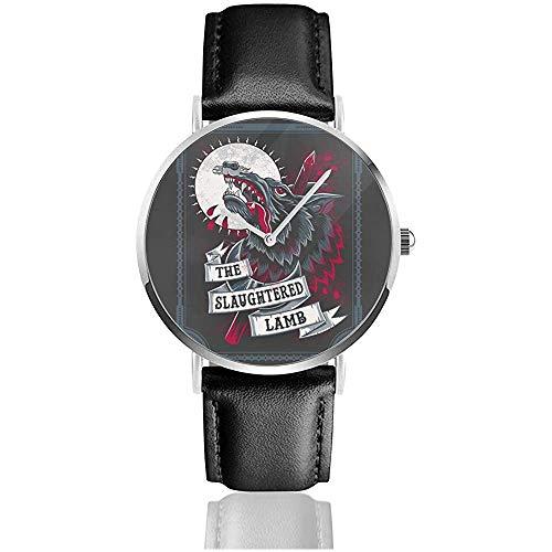 Business Casual, un Hombre Lobo Americano en Londres Relojes de Cordero sacrificados Reloj de Cuero de Cuarzo