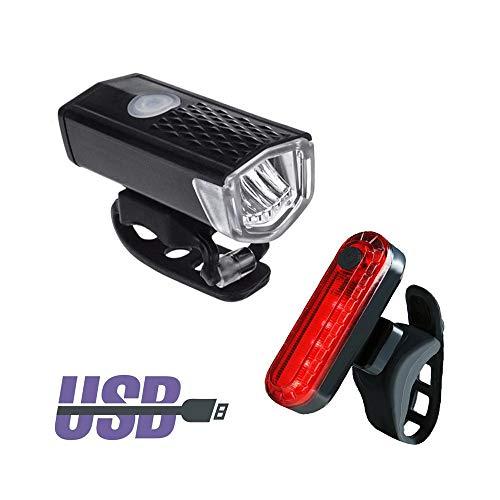 2 Stück Fahrradleuchten Wiederaufladbare 300 Lumen Fahrrad LED-Leuchten Frontscheinwerfer + Rücklicht Fahrrad Taschenlampe Warnleuchten