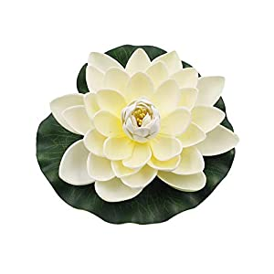 qiguch66 Artificial Flower for Decoration, Artificial Lotus Flower Fake Floating Water Lily Garden Pond Fish Tank Decor – Milk White