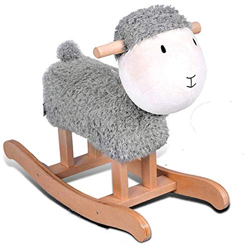 Real Wooden Riding Plush Rocker, Brown and Gray Lamb Rocking Horses Are Suitable for Babies Over 13 Years Old Plush Animal Rocking Chairs, Toddler Riding Toys for Children