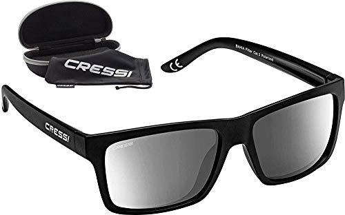 Cressi Bahia Flotantes Sunglasses Gafas De Sol Deportivo, Unisex adulto, Negro/ Lentes espejados